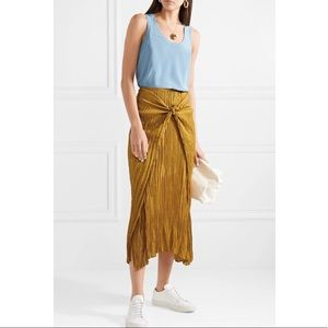 Vince Yellow Pleated Satin Slip Tie Front Skirt S